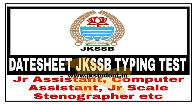 JKSSB | Exam Dates For Typing Test For Jr Assistant, Computer Assistant, Jr Scale Stenographer etc