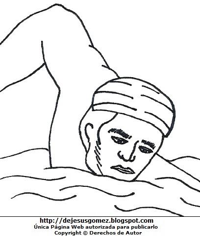 Dibujo de José Olaya nadando para colorear, pintar e imprimir para niños. Dibujo de José Olaya de Jesus Gómez