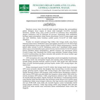 Hasil Bahtsul Masail PBNU Tentang Fiqih Shalat Dokter dan Tenaga Medis Pasien COVID-19 - Kajian Medina