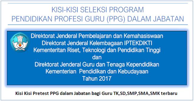 Kisi Kisi Pretest PPG dalam Jabatan bagi guru TK,SD,SMP,SMA,SMK terbaru
