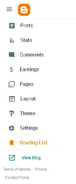 tampilan dashboard new blogger  terbaru