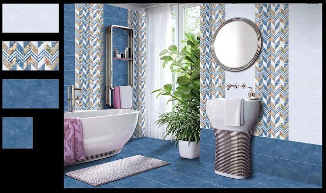 Blue Patterned Bathroom Tiles