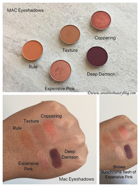 MAC Eyeshadow Rule, Texture, Coppering, Expensive Pink, Deep Damson