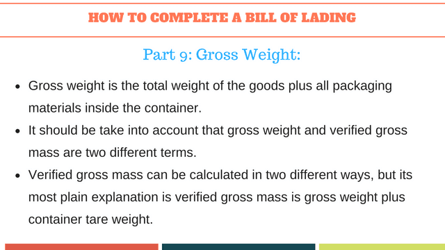 How to complete a bill of lading | Gross Weight