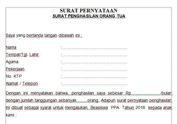 Surat Pernyataan Keterangan Penghasilan Orang Tua Contoh