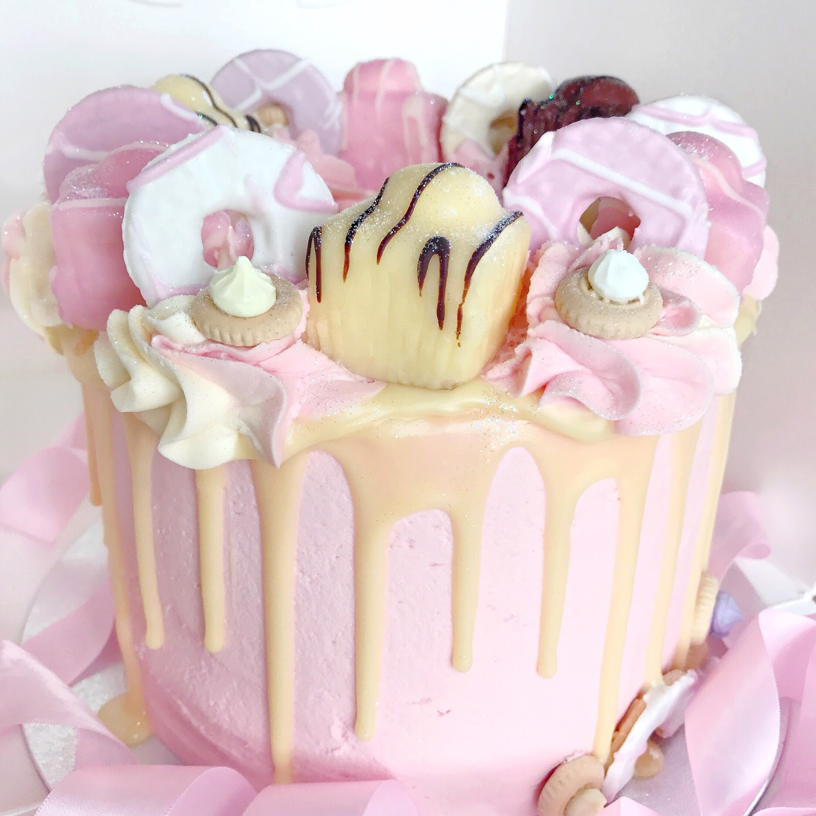Pink Princess Candy Floss Drip Cake | French Fancies, Party Rings & Iced Gems