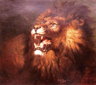 Lukisan Karya Raden Saleh dengan Judul Singa Memamerkan Taringnya