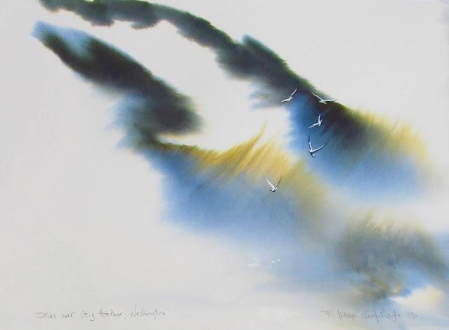 Skies over Gig Harbor, Washington - 1980 Watercolor by F. Lennox Campello