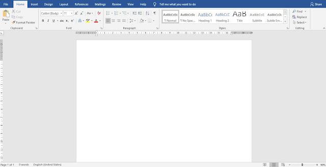 Tampilan Lembar Kerja Microsoft Word