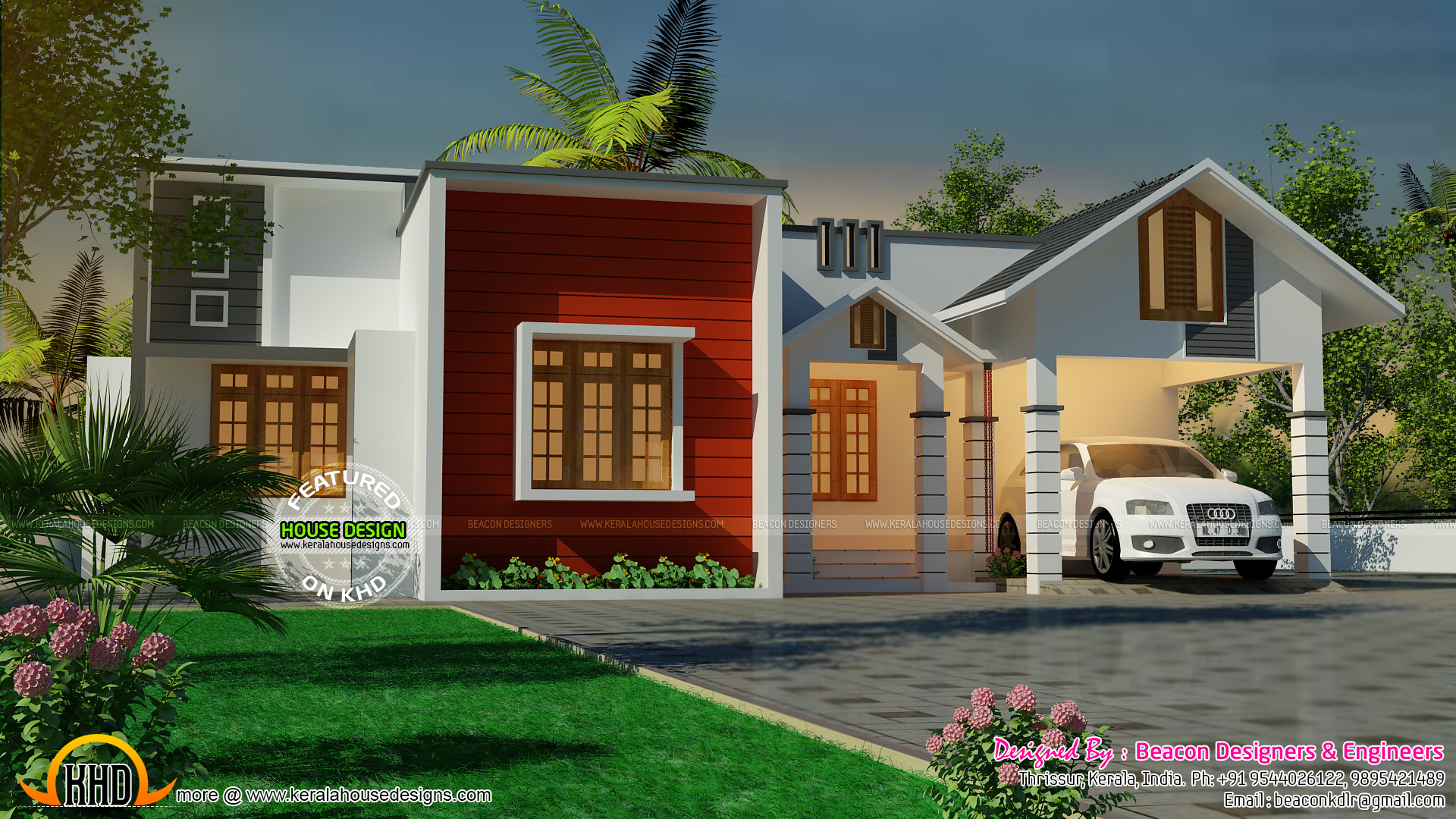 June 2015 kerala home design and floor plans for One level home designs