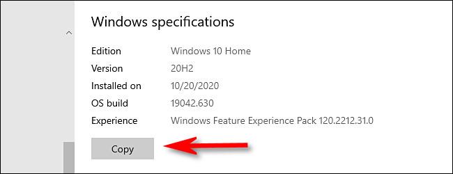 """في إعدادات Windows ، انقر فوق الزر """"نسخ"""" لنسخ مواصفات Windows إلى الحافظة."""