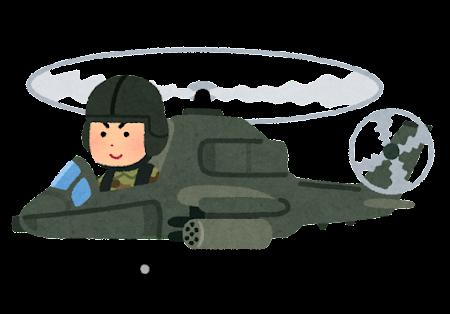 戦闘ヘリコプターに乗る人のイラスト(男性)