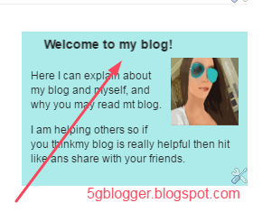 welcome message in blogger
