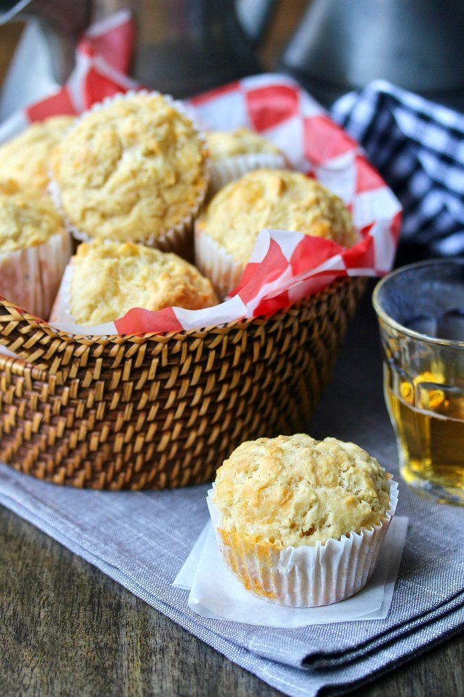Beer and Cheese Muffins in a basket