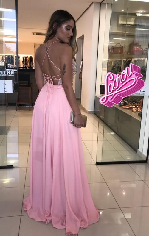 vestido longo rose costas nuas