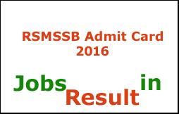 RSMSSB Admit Card 2016