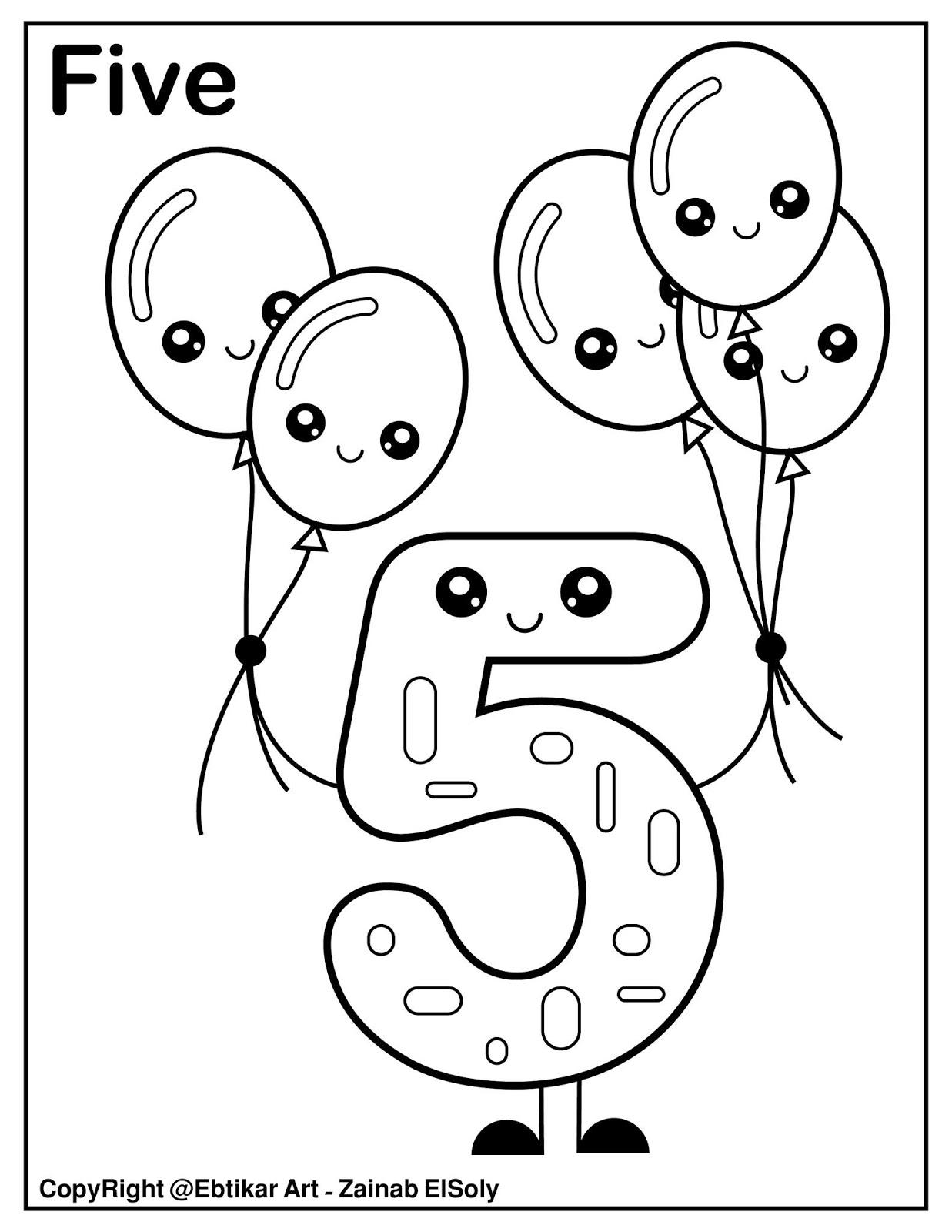 Set Of 123 Kawaii Coloring Pages