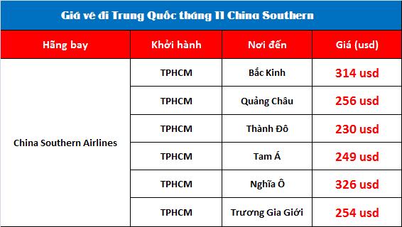 Giá vé máy bay hãng China Southern Airlines đi Trung Quốc tháng 11