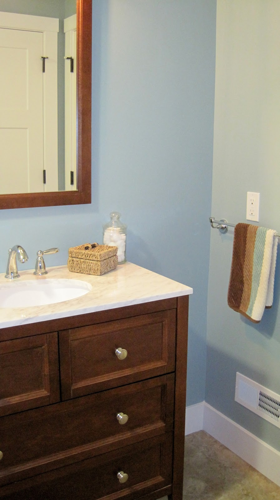 Blue Gray And Chocolate Brown Bathroom