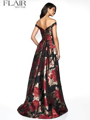 Off the shoulder brocade flair prom dress black& Red color back side