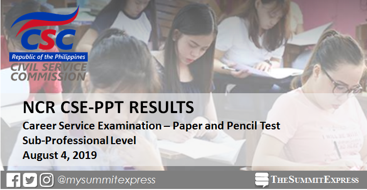 NCR Passers: August 2019 Civil service exam results CSE-PPT (Sub-Professional Level)