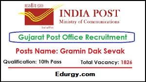 Indian Postal Department, Gujarat Circle Recruitment for 1826 Gramin Dak Sevak (GDS) Posts 2020-21