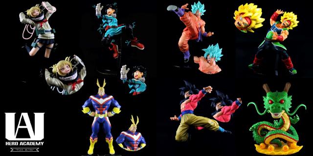 My hero academia and Dragonball anime figures collection