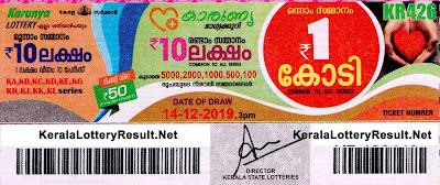 kerala lottery Result 14-12-2019 karunya KR 426