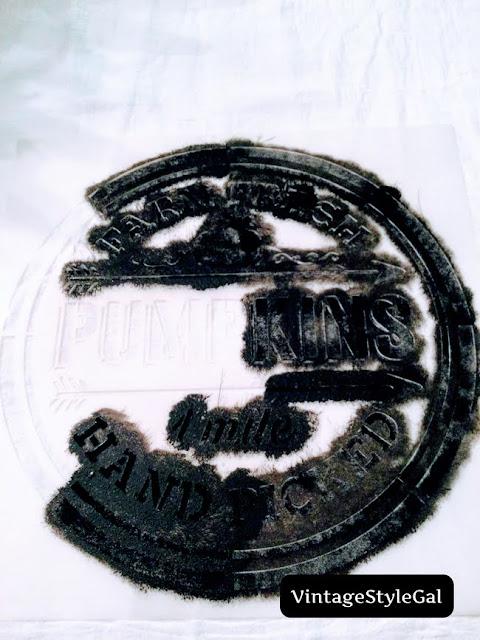 Black paint stencil on flour sack towel
