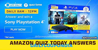 Amazon Quiz Answers for 6 December 2019   Win Sony PlayStation 4, Amazon Quiz Today Contest All Answers 6th December: Answer the Questions and Stand A Chance To Win Sony PlayStation