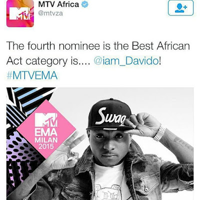 Davido nominated for MTV best African act!