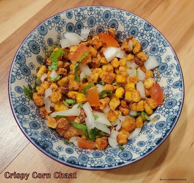 images of Crispy Corn Chaat In Air Fryer / Crispy Corn Chaat Recipe / Crispy Non Fried Sweet Corn Chaat