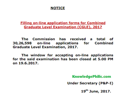 SSC Official Notice States 30 Lakhs Online Applications for SSC CGL 2017 Exam