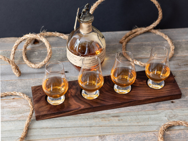 How to Make a DIY Whiskey & Bourbon Flight Board by Handmade Weekly featured at Pieced Pastimes