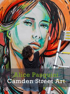 London Street Art mural by artist Alice Pasquini in Camden titled Everything Flows. #streetart #graffiti #mural