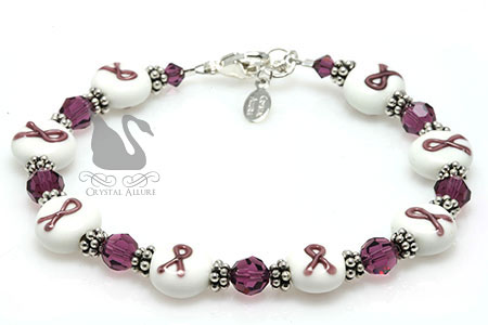 Crystal Ribbon Cystic Fibrosis Awareness Bracelet (B070)
