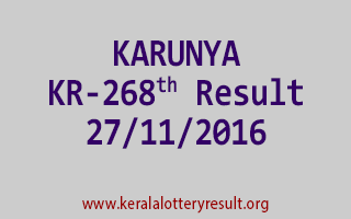 KARUNYA KR 268 Lottery Results 27-11-2016