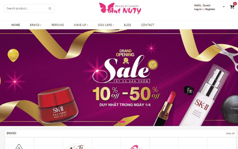 Giao diện Blogspot bán hàng Mỹ phẩm Ant Nuty