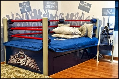 Boxing Ring Bed  Sports Bedroom decorating ideas -  Wrestling theme bedroom decorating - boxing theme bedrooms - martial arts - skateboarding theme bedrooms  - football - baseball - basketball theme bedrooms - basketball bedding - golf theme bedrooms - hockey bedding - theme beds sports