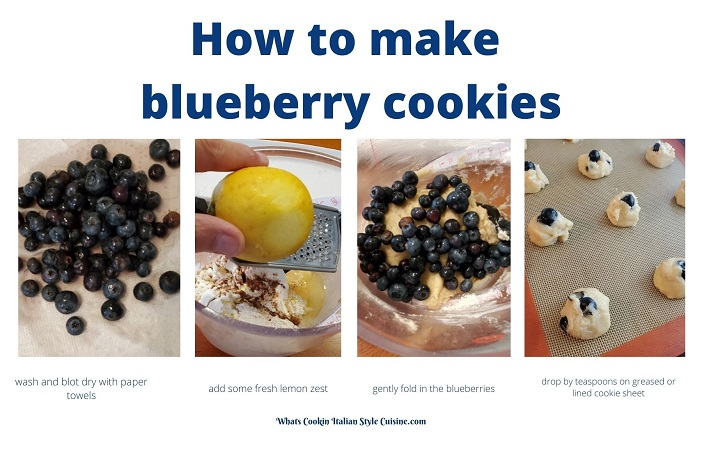 these are a collage of step by step photos on how to make blueberry cookies