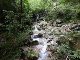 登山道に沿って流れる清流。イン谷口近く