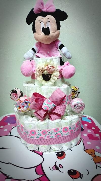 How To Make A Minnie Mouse Head Diaper Cake