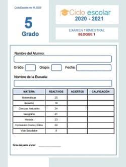 Examen Trimestral Bloque 1 Quinto grado 2020-2021