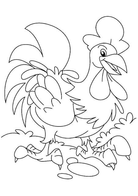 Hình tô màu con gà trống vui vẻ