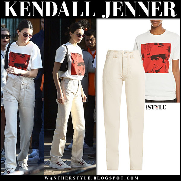 Kendall Jenner in white and red t-shirt calvin klein and white jeans martine rose model street fashion march 24