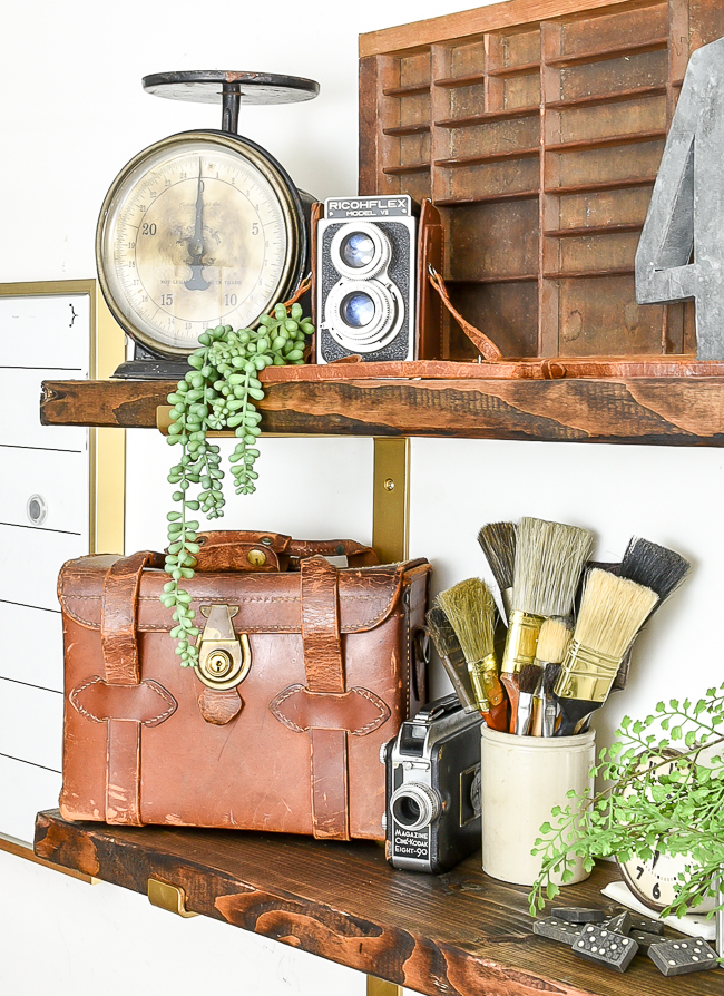 Styling open shelves with vintage decor