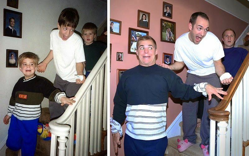 Watch Brothers Recreate their Childhood Photos as Christmas gift for Mom via geniushowto.blogspot.com recreating the epic scene of brothers having a blast with their playfully funny expressions