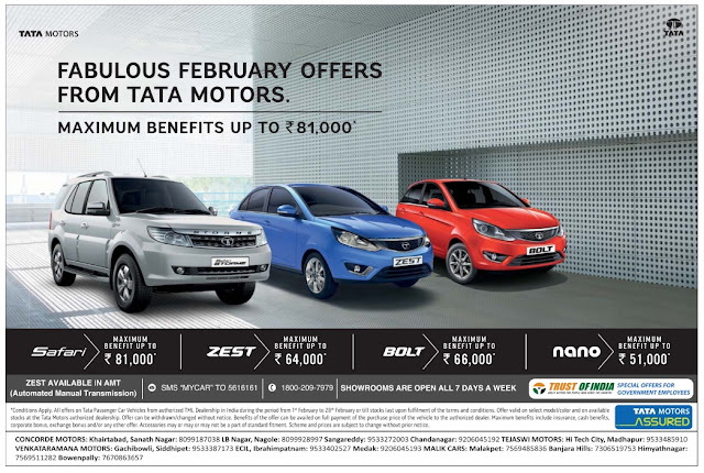 Tata motors fabulous february 2017 offers