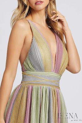 v-neckline Ieena for Mac Duggal evening dress Multi Color front