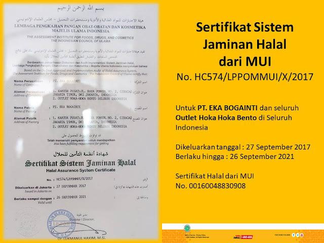 hokben telah mendapatkan sertifikat sistem jaminan halal dari mui
